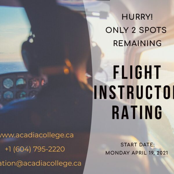 Register Today for the Instructor Rating Course starting April 19th, 2021!